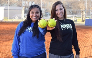 Sophomore Lori Gutierrez (left) and Senipor Captain Kat Arocha (right) will represent the United States through the American International Sports Team. Both softball players will participate in an exhibition tournament this summer in Paris. Photo by Gabriela Cavazos