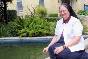Sister Patricia Marie Lohre, IWBS, will receive her bachelor's degree this month. Photo by Angelica Casas